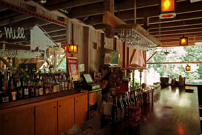 Mill interior, Rainbow Trout Ranch; Rockbridge, Missouri. The mill presently houses a bar, The Rockbridge Grist Mill Club.
