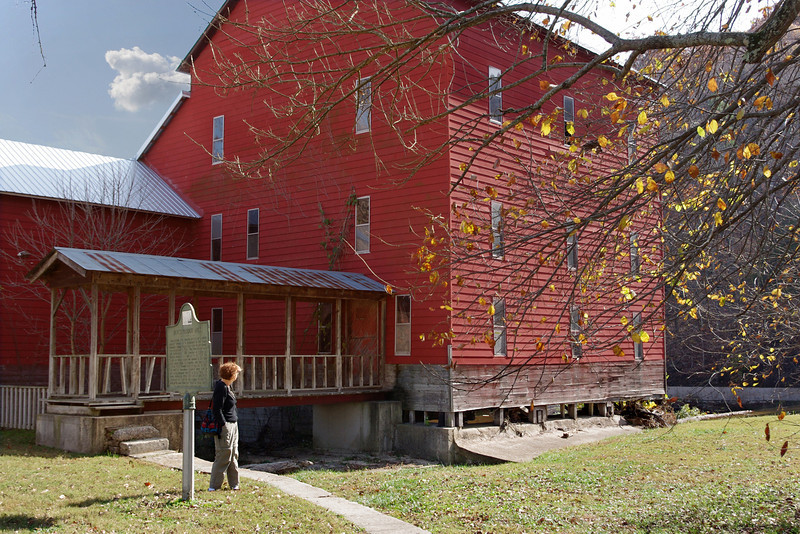 Rita at the old red mill, Rainbow Trout Ranch, Rockbridge, Missouri.