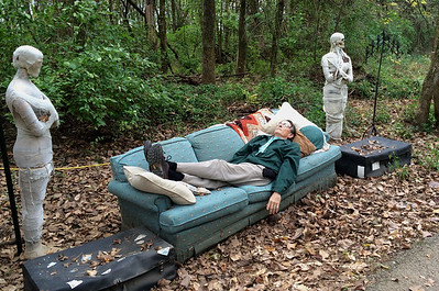 Gary relaxing with some mummies on the Haunted Trail, Rutledge-Wilson Farm Park, Springfield, MO.