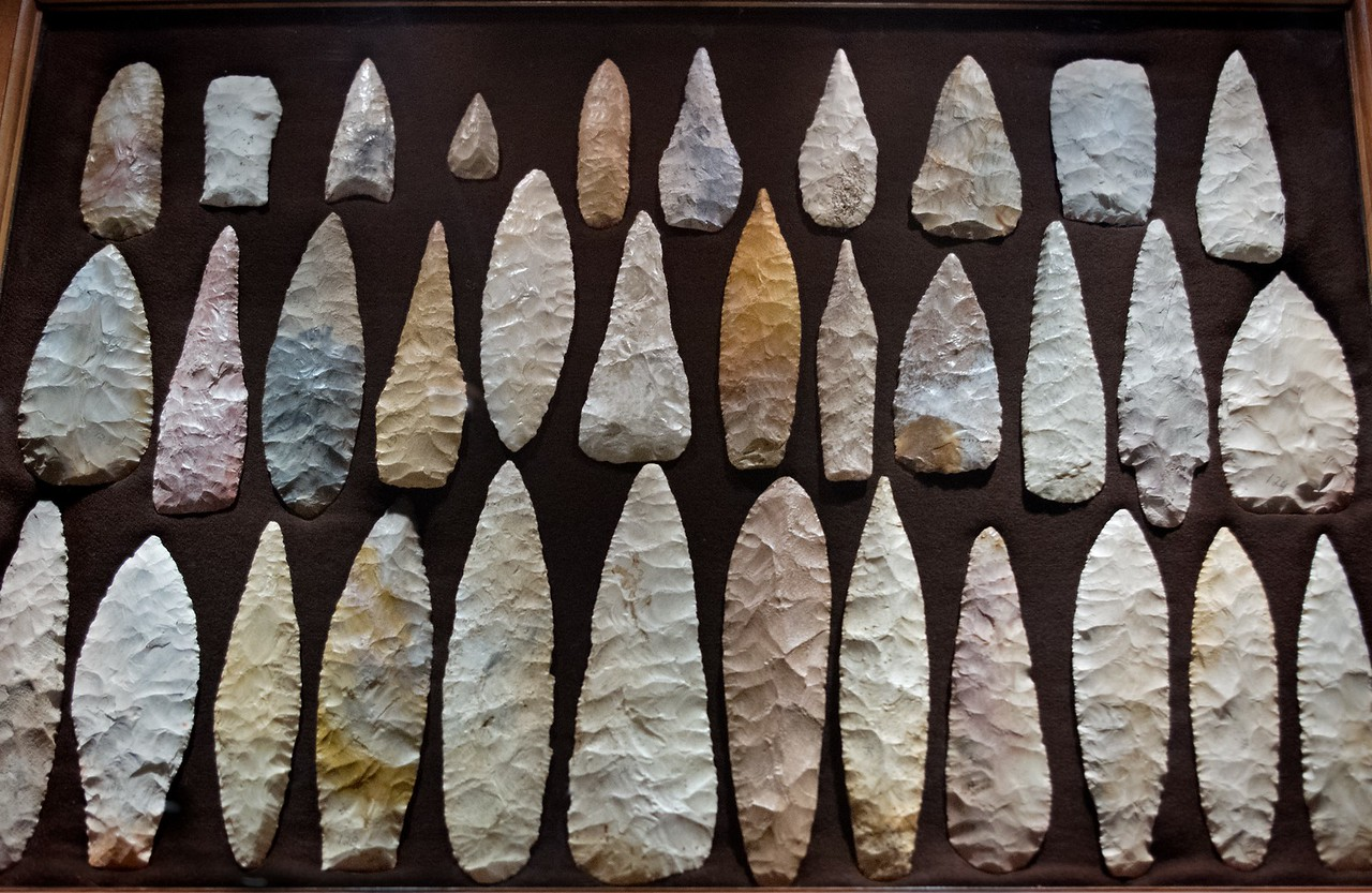 Native American projectile points, Ancient Ozarks Natural History Museum at Top of the Rock near Branson, Missouri.