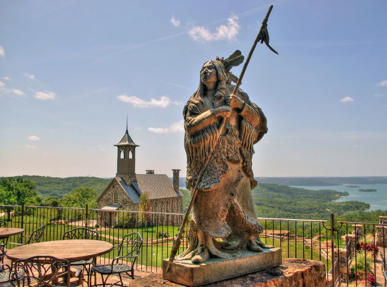 Statue of Native American at Top of the Rock, near Branson, Missouri.