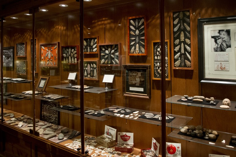 Showcases full of Native American artifacts. Ancient Ozarks Natural History Museum at Top of the Rock near Branson, Missouri.