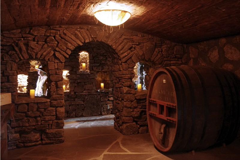 Rita in the wine cellar at Top of the Rock, a tourist attraction near Branson, Missouri.