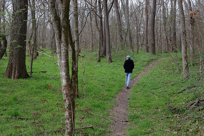 Rita, hiking in the woods; Wire Road Conservation Area near Crane, Missouri. April 1st, 2011.