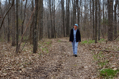 Rita, hiking in the woods. Wire Road Conservation Area near Crane, Missouri. April 1st, 2011.