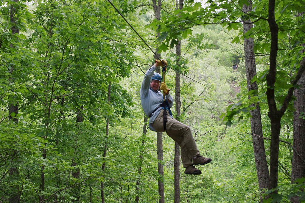 Rita, hanging out in the canopy. Ziplines USA, near Reeds Spring, Missouri. Friday the 13th, May, 2011.