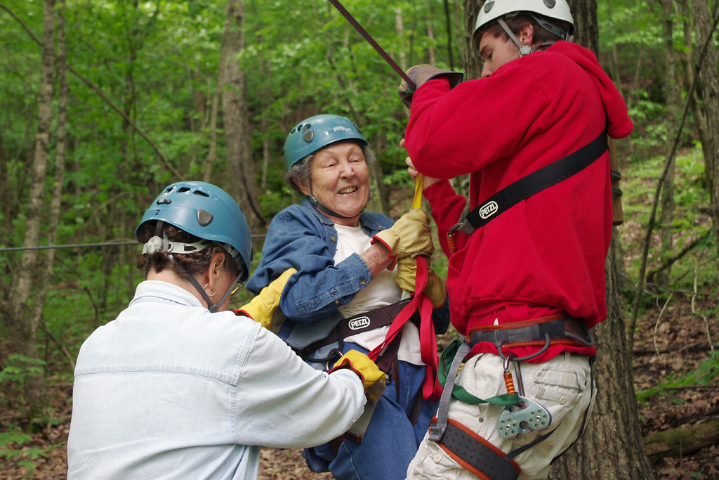 Lela, making a safe landing on the platform. Ziplines USA, near Reeds Spring, Missouri.