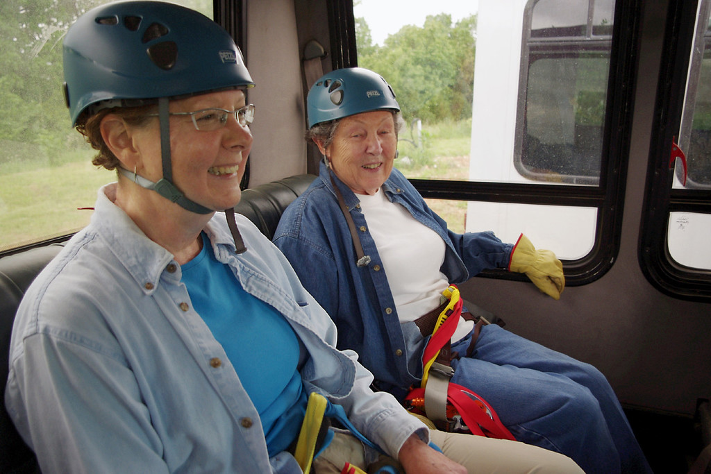 Rita and Lela, geared up and on the bus at Zipline USA, near Reeds Spring, Missouri.