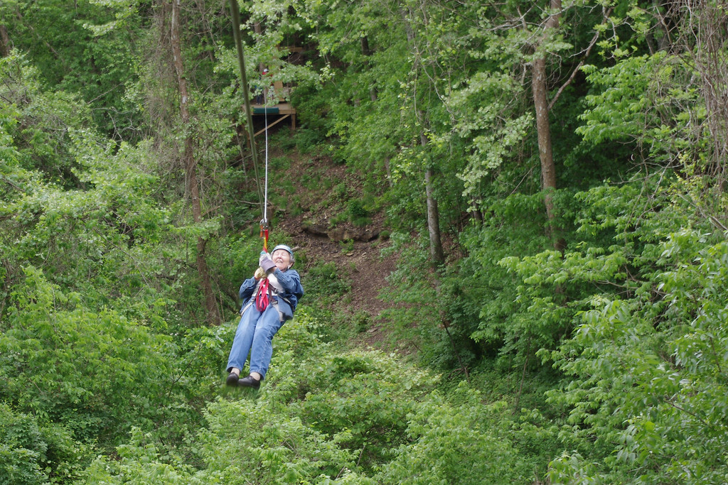 Lela enjoying her 83rd birthday present. Ziplines USA, near Reeds Spring, Missouri. Friday the 13th, May, 2011.