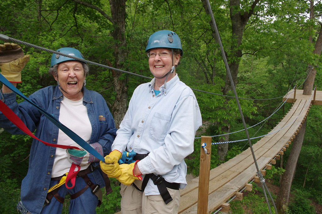 Lela and Rita at the swinging bridge - Ziplines USA, near Reeds Spring, Missouri. Friday the 13th, May, 2011.
