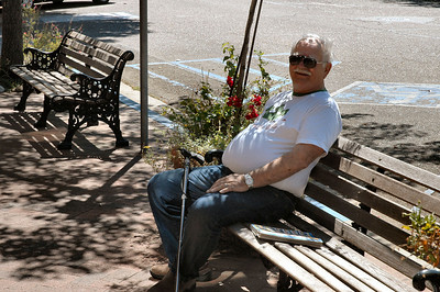 Bob takes a rest in the sunshine as we check out another Antique store