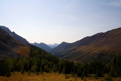 The view looking east about a third of the way to Ptarmigan Cirque in Kananaskis country.