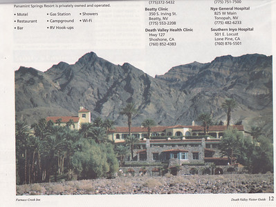 Back of one of the publications given to visitors to Death Valley National Park.  This is a nice picture of Furnace Creek Inn, the place we stayed in during our time at Death Valley.