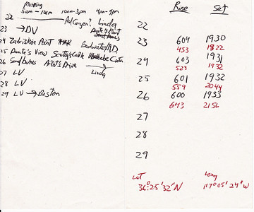 My hand-written original plan of travel for Death Valley, written before we left for Las Vegas/Death Valley.  Also I documented the sunrise/sunset times for each day in Death Valley.  The red-inked times are moonrise/moonset.