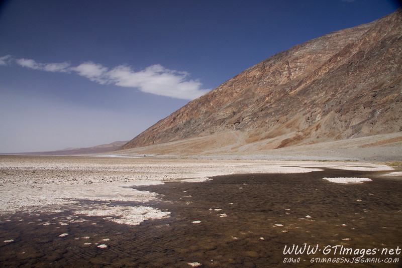 Badwater flats - the water is not poisonous, just salty. Prospectors mules would not drink it, so they called it bad.....