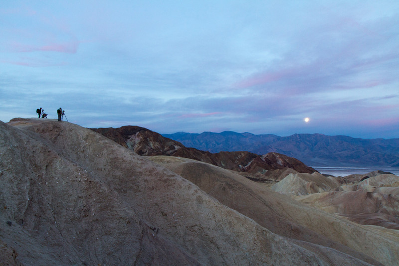 Photographers gather at dawn at Zabriskie point hoping for good morning light.