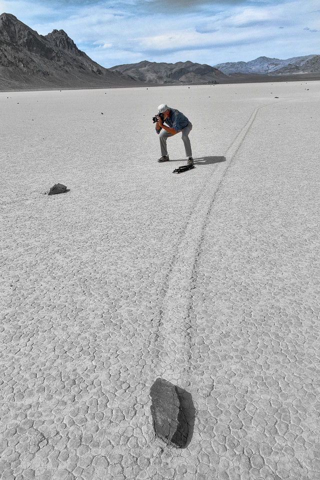 Another rock zooms by unsuspecting Ken. Most of the theories of how the rocks move include the fact that the racetrack dirt, when wet, is some of the slickest mud found in nature.