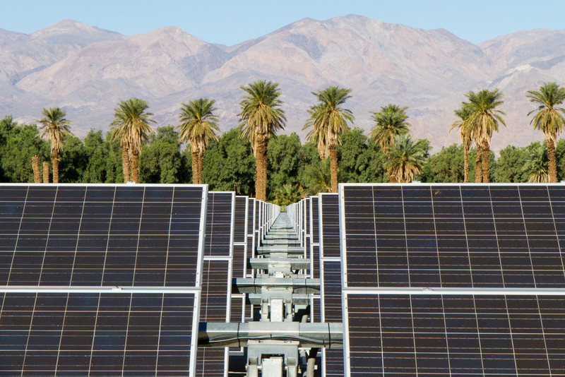 At the Furnace Creek Inn, they wisely generate a lot of their power from the hot yellow globe in the sky