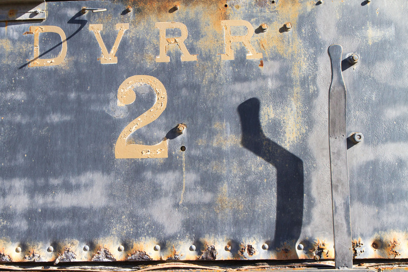 Rusting locomotive (DVRR= Death Valley Rail Road) in a local museum