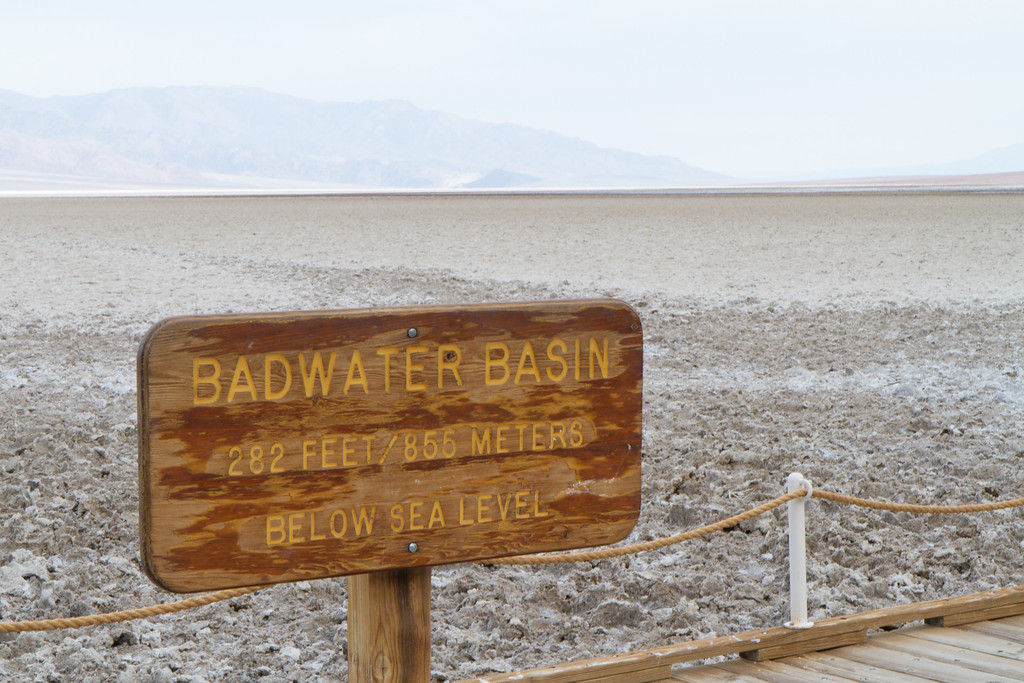Lowest point in the US- 282 feet below sea level. The bottom of an ancient lake that dried up when the mountains to the west rose up, creating yet another range to block the rain (the Sierras are the range to the west of the Panamints forming the western edge of this valley)
