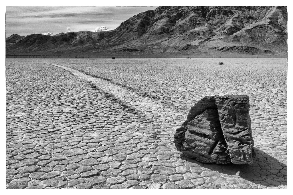 No one has ever seen the rocks move. There are lots of theories of what causes this weird movement, but none have been tested or proved. Most of the next shots I converted to Black and White to portray what is really monotonous even in color.