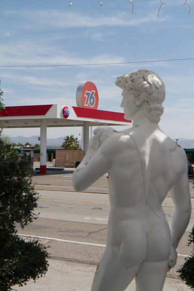 Baker, California. Turnoff from I-15 north towards Death Valley. Would say it was typical American road stop town, but not all of them have Greek restaurants with nude classic statues juxtaposed with gasoline stations.