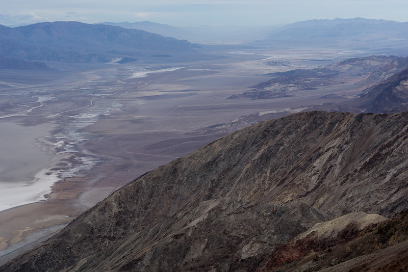 Looking northward up Death Valley. The haze in the distance is the beginning of the sandstorm that lasted into the next day.