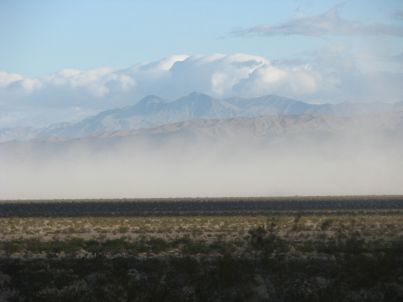 Blowing winds kicking up a lot of dust along SR127