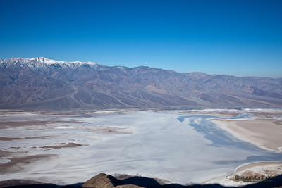 Badwater. Views from Dante's viewpoint terrace in Death Valley, California.