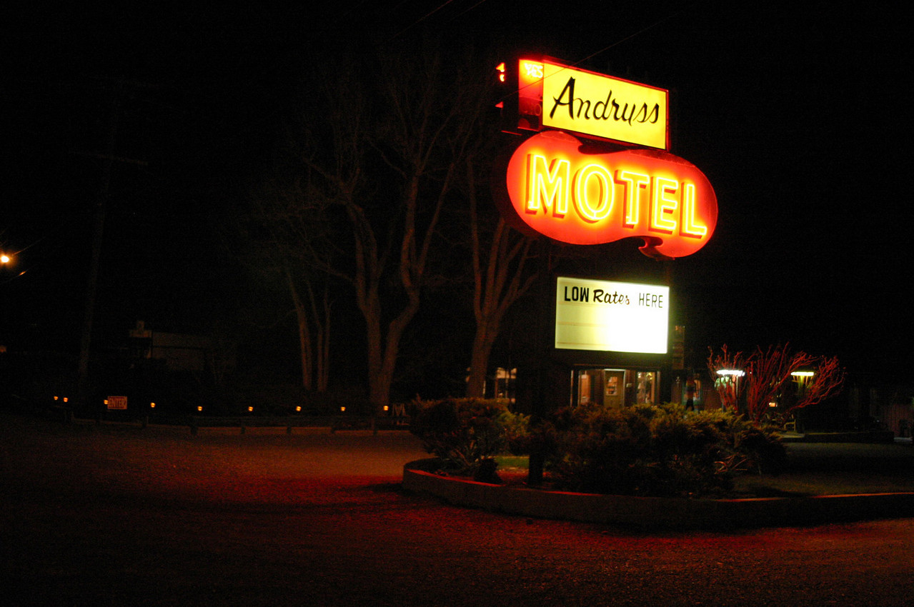 "<font size=""+1"">The Andruss Hotel in <a href=""http://www.northernmonochamber.com/community.htm""  target=""_blank"">Walker</a>, California, our first nights lodging.  We're still quite a ways from Death Valley at this point.  The hotel was very nice, though the heat wouldn't come on in my room, something I didn't notice till too late..  Oh well..  More pictures of the Andruss can be found <a href=""http://www.dslextreme.com/~nhopper/Andruss.html"" target=""_blank"">here</a>. <P> <font size=""+1"">The <a href=""http://maps.google.com/maps?q=106964+US+Highway+395,+Coleville,+CA+96107&spn=0.135098,0.118618&t=k&hl=en"" target=""_blank"">satellite view</a> of the area..  <a href=""http://maps.google.com"" target=""_blank"">maps.google.com</a> is just about the coolest web resource I've come across recently.  I'm dying to know how the revenue stream from this is supposed to work. <p> <font size=""+1"">Anyway, back to our trip - if you zoom out a little from the <a href=""http://maps.google.com/maps?q=106964+US+Highway+395,+Coleville,+CA+96107&spn=0.135098,0.118618&t=k&hl=en"" target=""_blank"">satellite view</a>, you can see <a href=""http://www.topazlake.com/"" target=""_blank"">Topaz Lake</a> to the north (actually in Nevada) and <a href=""http://www.monolake.org/"" target=""_blank"">Mono Lake</a>.  (Moe-No, not Maw-No, I've been told, but didn't know from looking at it...) Highway 395 is sort of crossing from top left third to lower right third at most zoom levels. </font>"