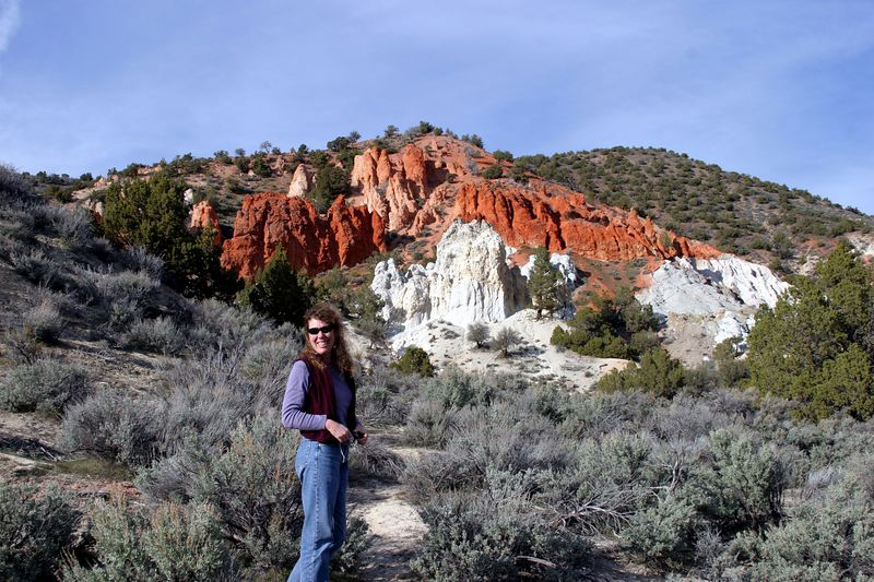 "<font size=""+1"">After leaving Reno going north on Highway 395 towards Susanville, you pass a road that says ""Red Rock Road.""  So we pulled off to look at the 'Red Rock'.  It's red all right.  Here's Tanya in front of it. </font>"