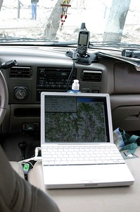 """Right before this trip I purchased a new Garmin GPSmap 60CS.  Garmin and I differ on what the right sort of computer one should use is, so it took me some wrangling to make everything work the way I wanted it.  (Which is really not true - """"wrangling"""" isn't the Macintosh Way, I just had to locate all the right resources to get the job done.)  This picture shows the GPS on my dash and my 12 inch Apple Powerbook on the console.  The Powerbook is running MacGPS Pro which in turn is using digitized topo maps of California that I downloaded from the internet.  All in all, it worked quite nicely.  I need a better way to secure the laptop on the console - sort of irritating to have the powerbook occasionally go flying when the truck was on harsh road surfaces or forced into swift """"Oh! Turn here!!!"""" maneuvers."""