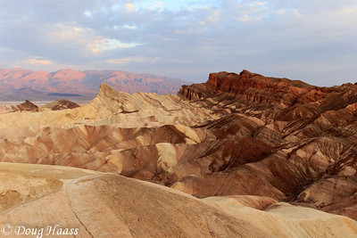 Zabriskie Point with Manly Beacon at sunrise