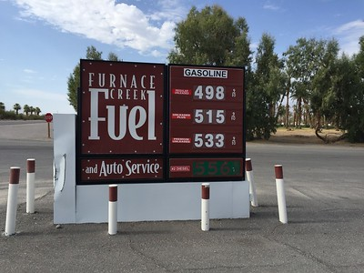 Death Valley NP fuel price...not like you have any choice for the next 70 miles. You do not want o run short and get stuck somewhere at night.  I always gas up if I get close to 1/2 tank down while inside the park.  July 11, 2018.