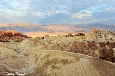 Zabriskie Point with Manly Beacon to the right at sunrise