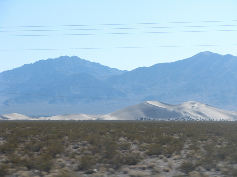 Big Dunes can be seen in the distance from Hwy95.