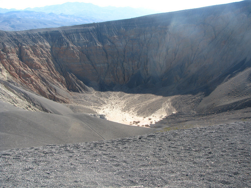 Bottom of the crater, you can see the effect of erosion on the crater walls.