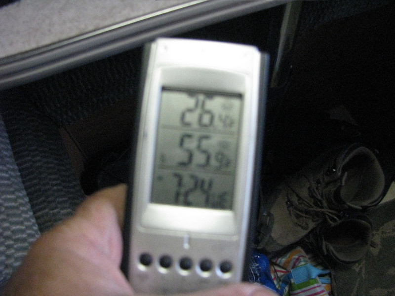 10/05/2008, Sunday Morning<br /> The middle number is the temperature inside our camper that morning.
