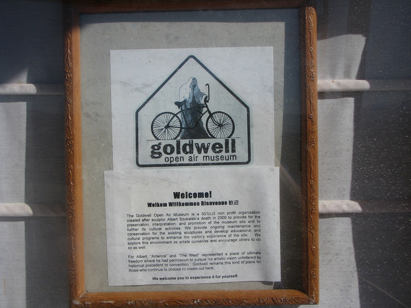 Welcome sign to Goldwell Open Air Museum.