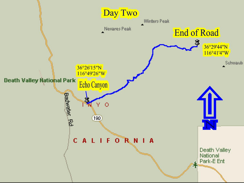 Tracking map of our adventure into Echo Canyon,Death Valley,Ca.