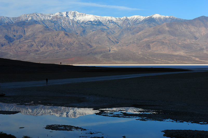 A reflection of Telescope Peak in the Panamint Mountain Range