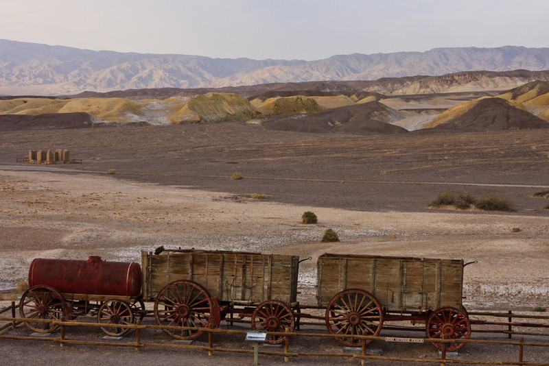 The famous twenty-mule teams pulled these wagons weighing up to 36 tons loaded, including 1200 gallons of drinking water, 130 miles across the Mojave Desert.
