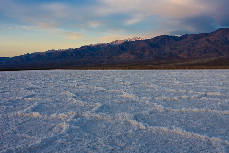Third-morning sunrise on the salt pan. We were hoping for good color and sharp shadows, but didn't really get either.