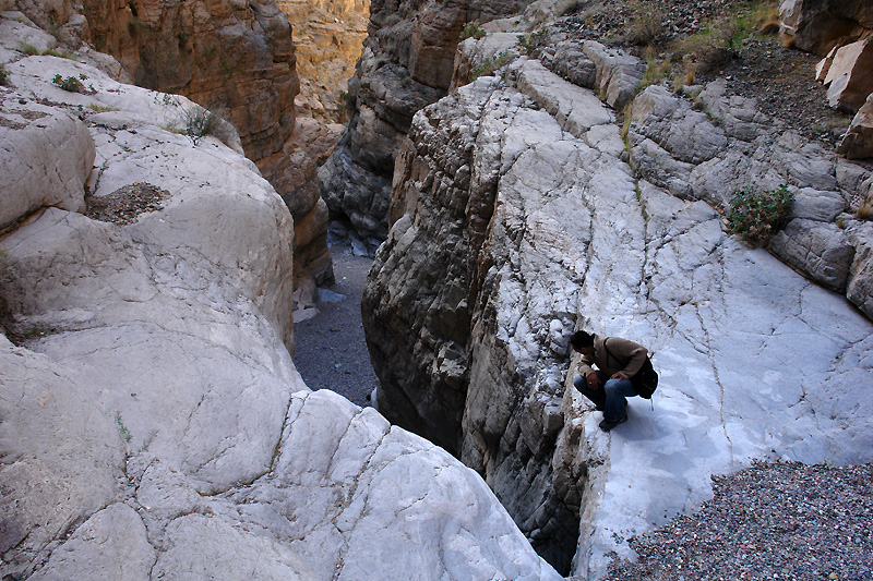 Looking down the dried up waterfall from above the box canyon