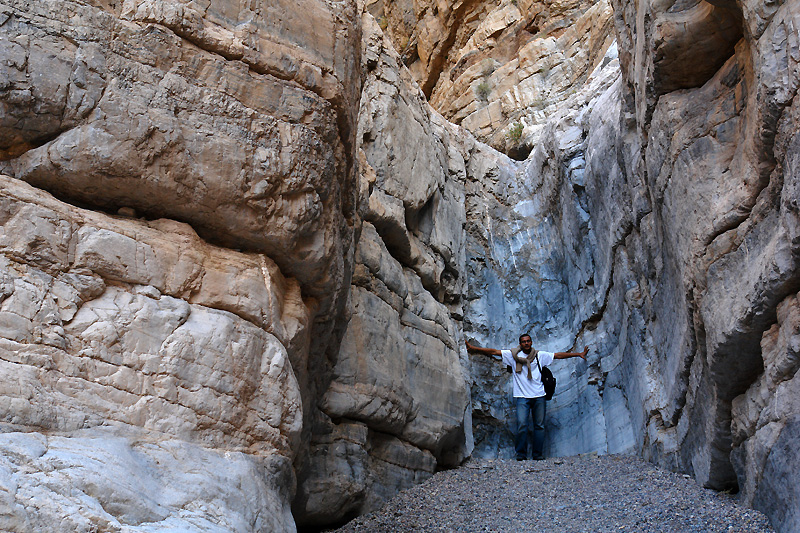 Prasanth at the end of the trail - a dried up waterfall in a box canyon