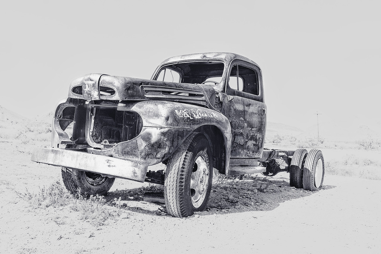 abandoned truck in ghost mining town of Rhyolite, Nevada
