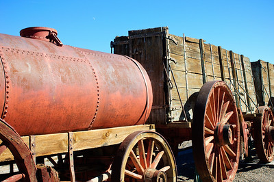 1,200 gallon water tank and wagons used to haul borax. Pulled by the legendary twent mule teams.