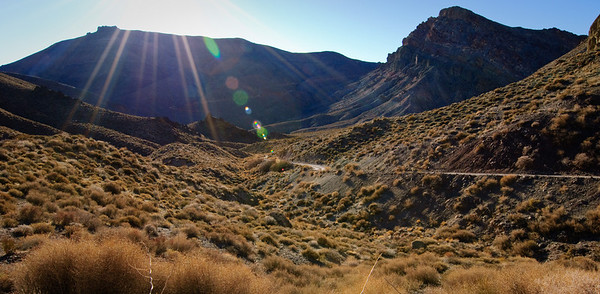 Heading into Titus Canyon just befor sunset... after 20 miles of 4 wheel drive dirt road.