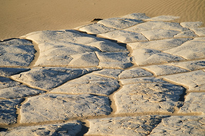 In the low spots between teh dunes, the fine silt settles out of the fleeting ponds and creates the cake patterns.