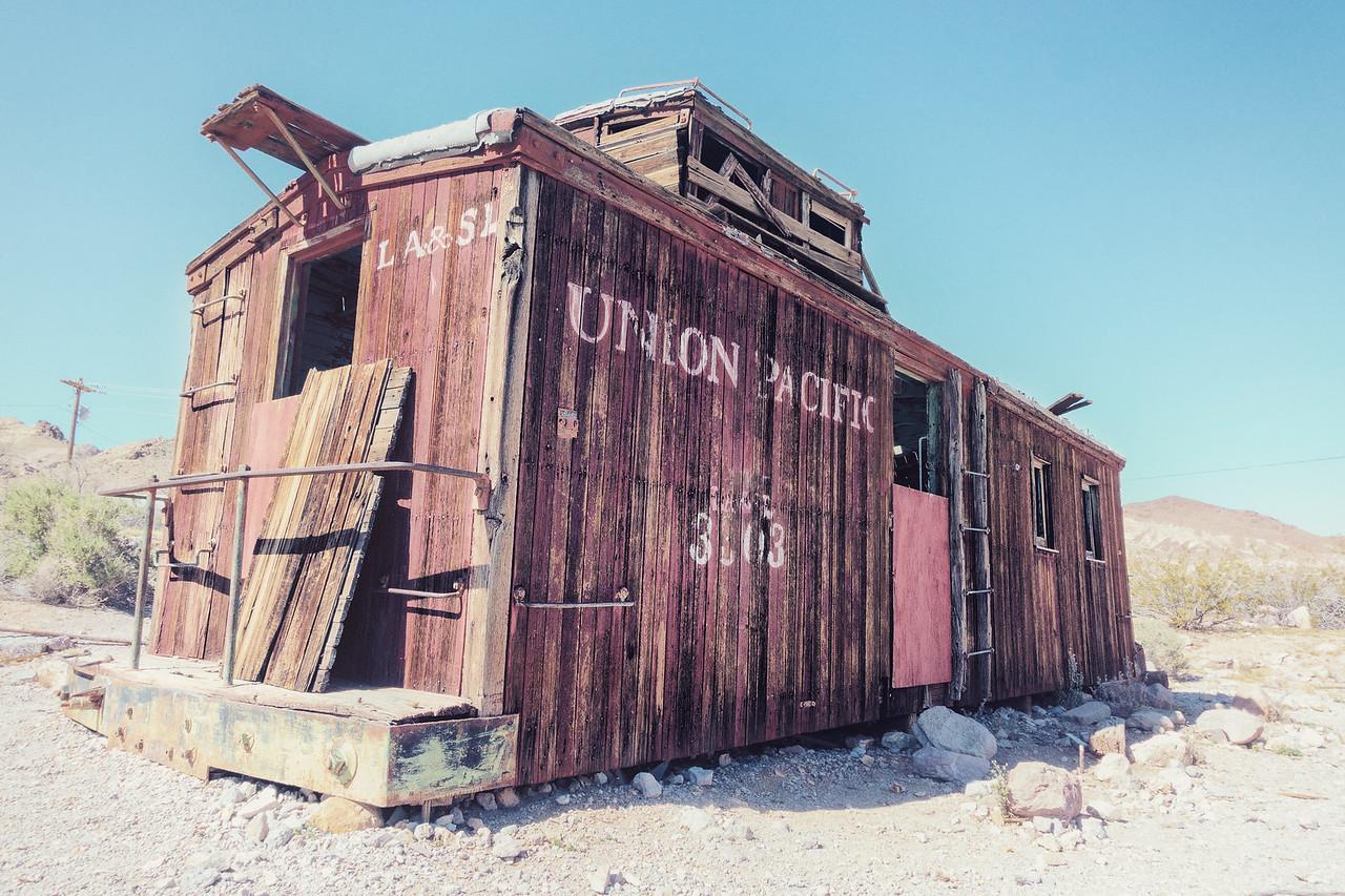 train car in ghost town of Rhyolite, Nevada